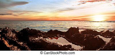 tuan, sziklás, aceh, tapak, naplemente tengerpart