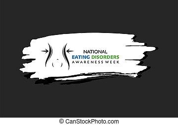 tudatosság, február, nemzeti, étkezési, megfigyelt, összezavarok, vektor, ábra, eltart, hét, közben