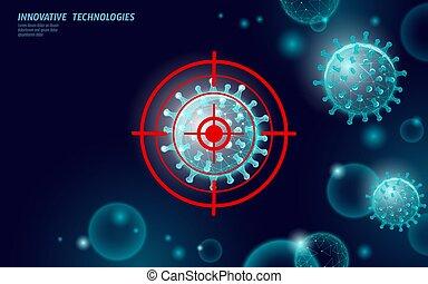 tudomány, ábra, 3, laboratórium, analízis, poly, vektor, fertőzés, orvosság, abbahagy, render., modern, alacsony, pneumonia., influenza, technológia, vírus, influenza, coronavirus