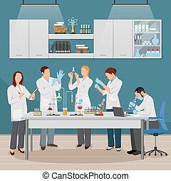 tudomány, ábra, laboratórium