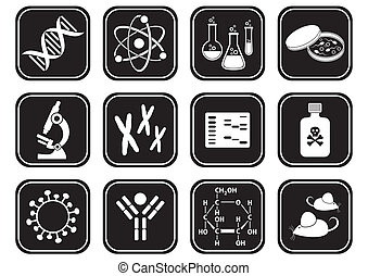 tudomány, biológia, ikonok