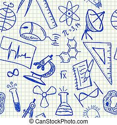 tudomány, doodles, seamless, motívum