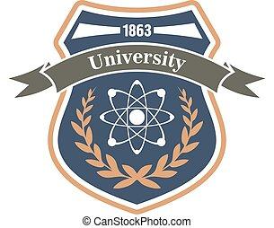 tudomány, egyetem, fizika, jelkép, címertani
