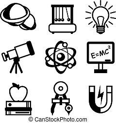 tudomány, fizika, ikonok