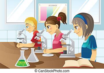 tudomány, gyerekek, labor