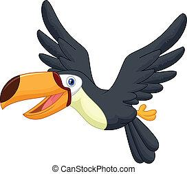 tukán, csinos, madár, karikatúra, repülés