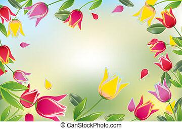 tulipán, színes, kártya