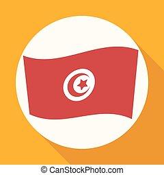 tunéziai, hosszú, white lobogó, karika, árnyék, ikon