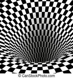 tunnel., derékszögben, elvont, wormhole, ábra, vektor, fekete, illusion., geometriai, fehér, látási