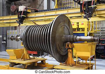 turbina, műhely, gőz