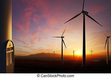 turbines, napnyugta, felteker