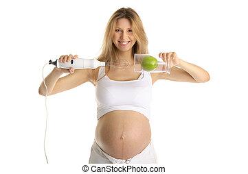 turmixgép, nő, alma, terhes