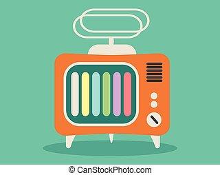 tv, ikon, vektor, öreg, retro