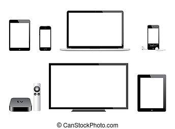 tv, iphone, esőkabát, alma, ipad, ipod