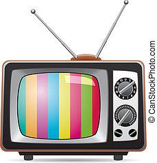 tv, retro, ábra, állhatatos, vektor