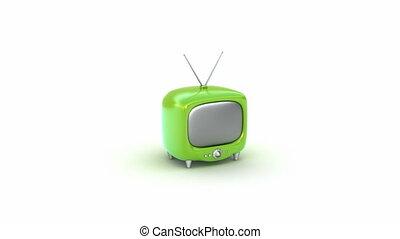 tv, set., zöld, retro, elszigetelt