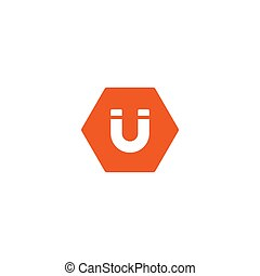 u-shaped, fehér, mágnes, piros, ikon, patkó, elszigetelt, hatszög, white., icon.
