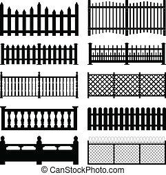 udvar, kerítés, előőrs, fából való, liget, drót
