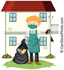 udvar, takarítás, ember