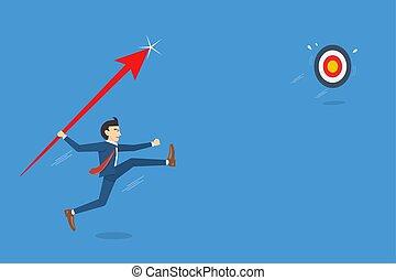 ugrál, ügy, üzletember, dobás, céltábla, ábra, áttörés, fogalom, vektor, siker, lándzsa