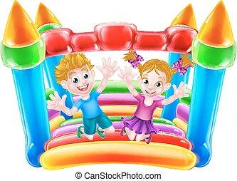 ugrás, bástya, gyerekek, bouncy