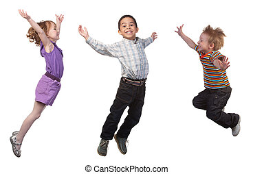 ugrás, boldog, gyerekek