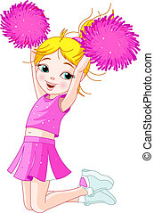 ugrás, cheerleading, leány, csinos