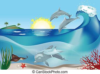 ugrás, delfinek