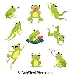 ugrás, fertőző, vektor, állhatatos, béka, zöld, slicc, ülés, levél növényen, csinos