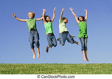 ugrás, gyerekek, csoport, után, nyerő