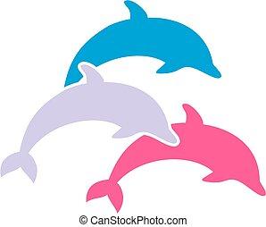 ugrás, három, delfinek