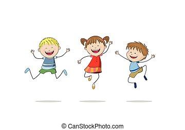 ugrás, három gyerek