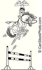 ugrás, hívott, karikatúra, lovaglási, áttekintés