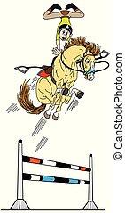 ugrás, hívott, lovaglási, karikatúra