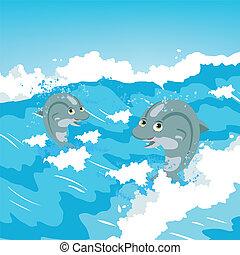 ugrás, két, delfinek