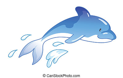 ugrás, karikatúra, delfin, csinos