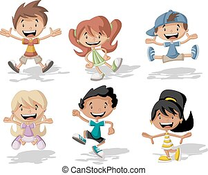 ugrás, karikatúra, gyerekek