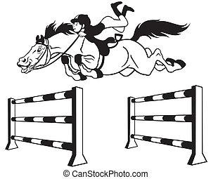 ugrás, karikatúra, ló