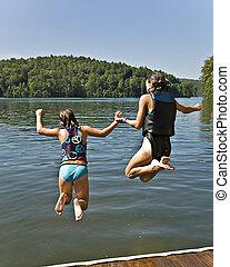 ugrás, lány, két, tó