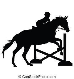 ugrás, ló, árnykép