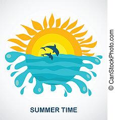 ugrás, napos, két, delfinek, kilátás