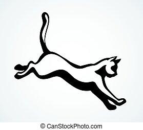 ugrás, rajz, vektor, cat., ikon