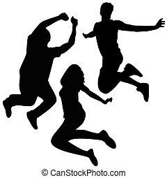 ugrás, silhouettes., 3, barátok, jumping.