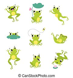 ugrás, vektor, állhatatos, csinos, béka, zöld, mosolygós, károgó