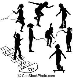 ugróiskol, gyermekek játék, odaköt, aktivál, ugrás, görkorcsolyák, vagy, kids.