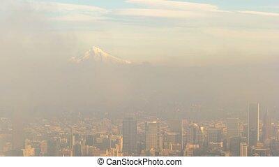 uhd, elhomályosul, felett, timelapse, köd, hegy., alacsony, cityscape, portland or, csuklya