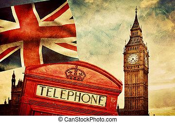 uk., egyesítés, nagy, anglia, london, jelkép, telefon, lobogó, bubi, bódé, ben, piros