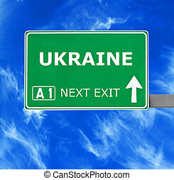 ukrajna, kék, tiszta égbolt, ellen, aláír, út