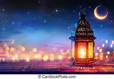 ul, világító, este, ramadan, gyertya, bokeh, eid, jámbor, hónap, -, muzulmán, arab, izzó, kareem, fitr, égető