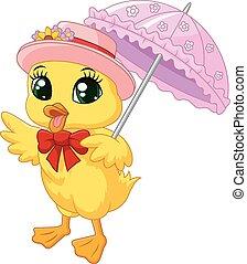 umbrell, csinos, kacsa, karikatúra, rózsaszínű